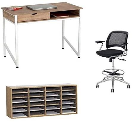 Desktop Organizer 3 Piece Set Writing Desk and Adjustable File Organizer and Chair