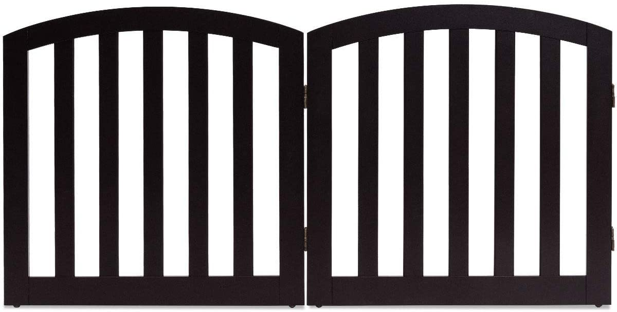 Giantex 24'' Dog Gate with Arched Top Configurable Free Standing Wooden Gate with Foldable Panels and Sturdy Metal Hinges Pet Dog Safety Fence for Indoor Use