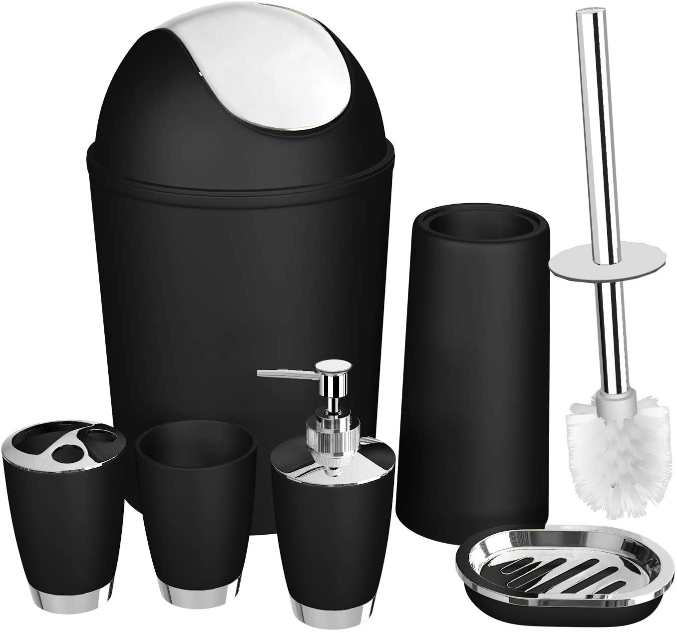 SOELAND Bathroom Accessories Set,6 Pcs Plastic Gift Set Toothbrush Holder,Toothbrush Cup,Soap Dispenser,Soap Dish,Toilet Brush Holder,Trash Can,Tumbler Straw Set Bathroom