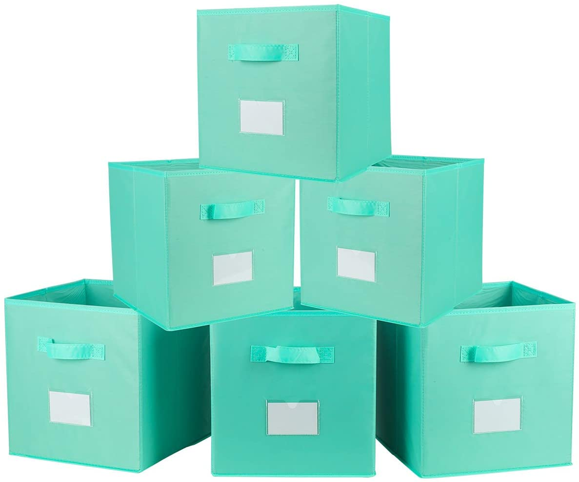TQVAI Foldable Clothes Storage Cubes 6 Pack with Label Holder Nylon Collapsible Nursery Basket Closet Bin Organizer - Neo Mint Green