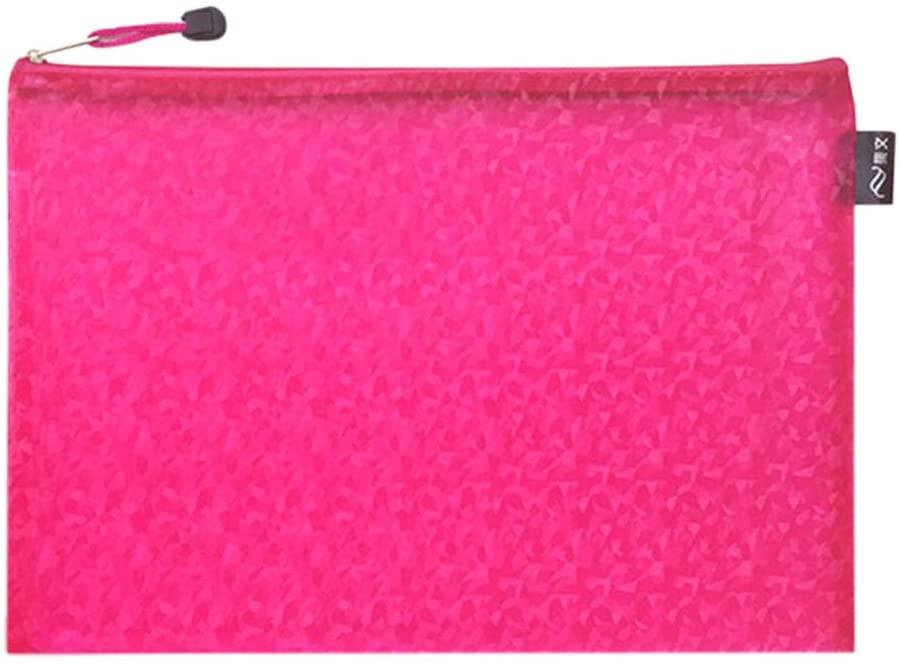 Set of 2 A4 Paper Holder Waterproof Document File Pocket File Bags Pink