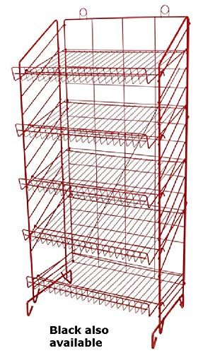 Display Rack in Black 52.75 H x 25 W x 16 D Inches with 5 Adjustable Shelves