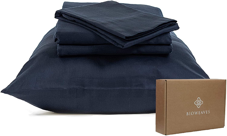 BIOWEAVES 100% Organic Cotton Sheets 300 Thread Count 4-Piece GOTS Certified Bed Sheet Set Fits Mattress Upto 17