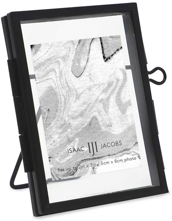 Isaac Jacobs 2x3, Black Modern Style Brass and Glass, Pressed Glass, Metal Floating Desk Photo Frame (Vertical), with Locket Closure for Pictures, Art, Mementos & Keepsakes (2x3, Black)