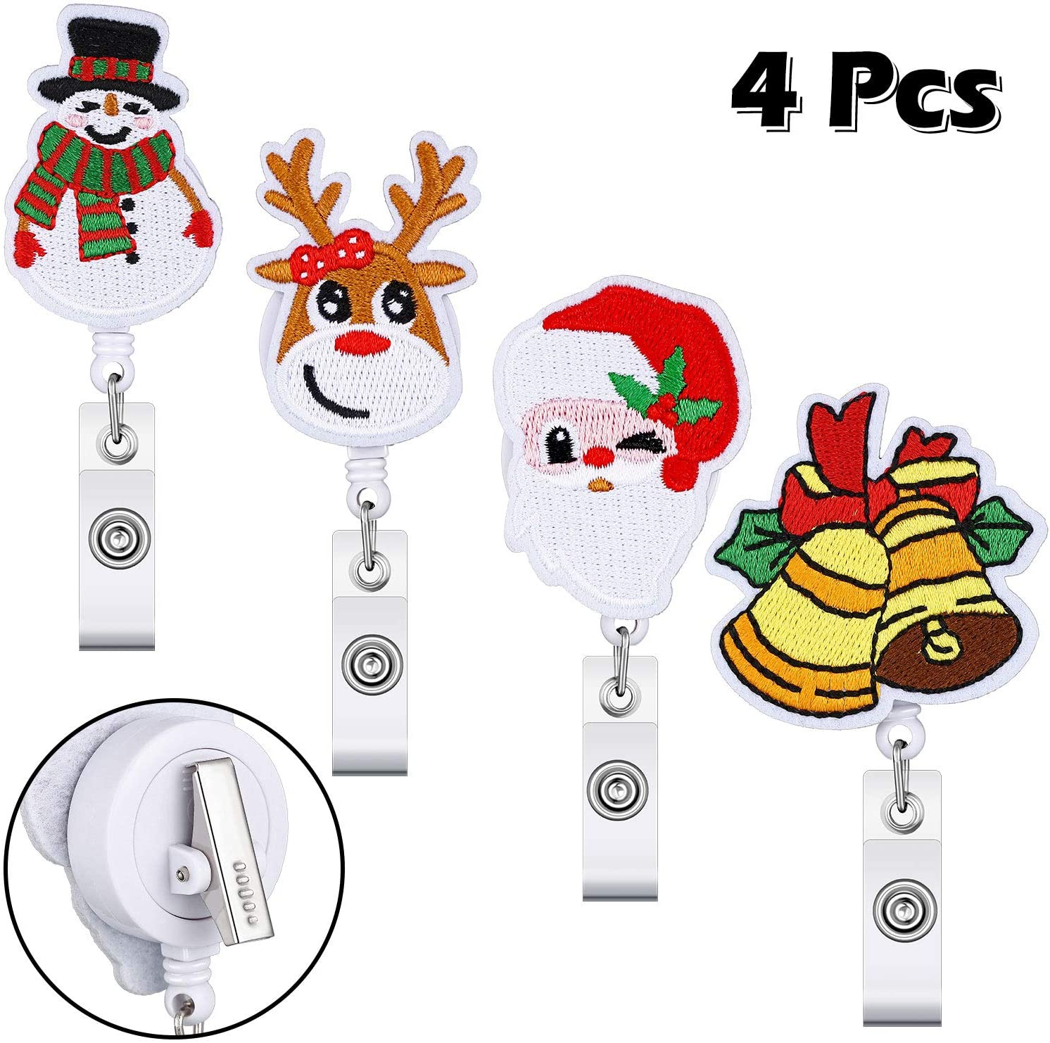 4 Pieces Christmas Badge Reel Set Santa Claus Snowman Reindeer Christmas Bell Retractable Badge Holder Name Decorative Badge Reel Clip with Alligator Clip on ID Card Holders