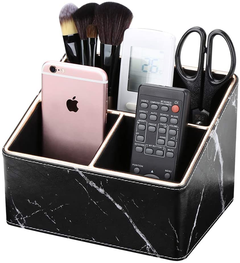 GORESE PU Leather Remote Control Holder Desk Organizer, Home and Office Sundries Storage Box for Remote Controllers, TV Guide, Mail, Makeup Brush And More,Golden Border & Black Marble