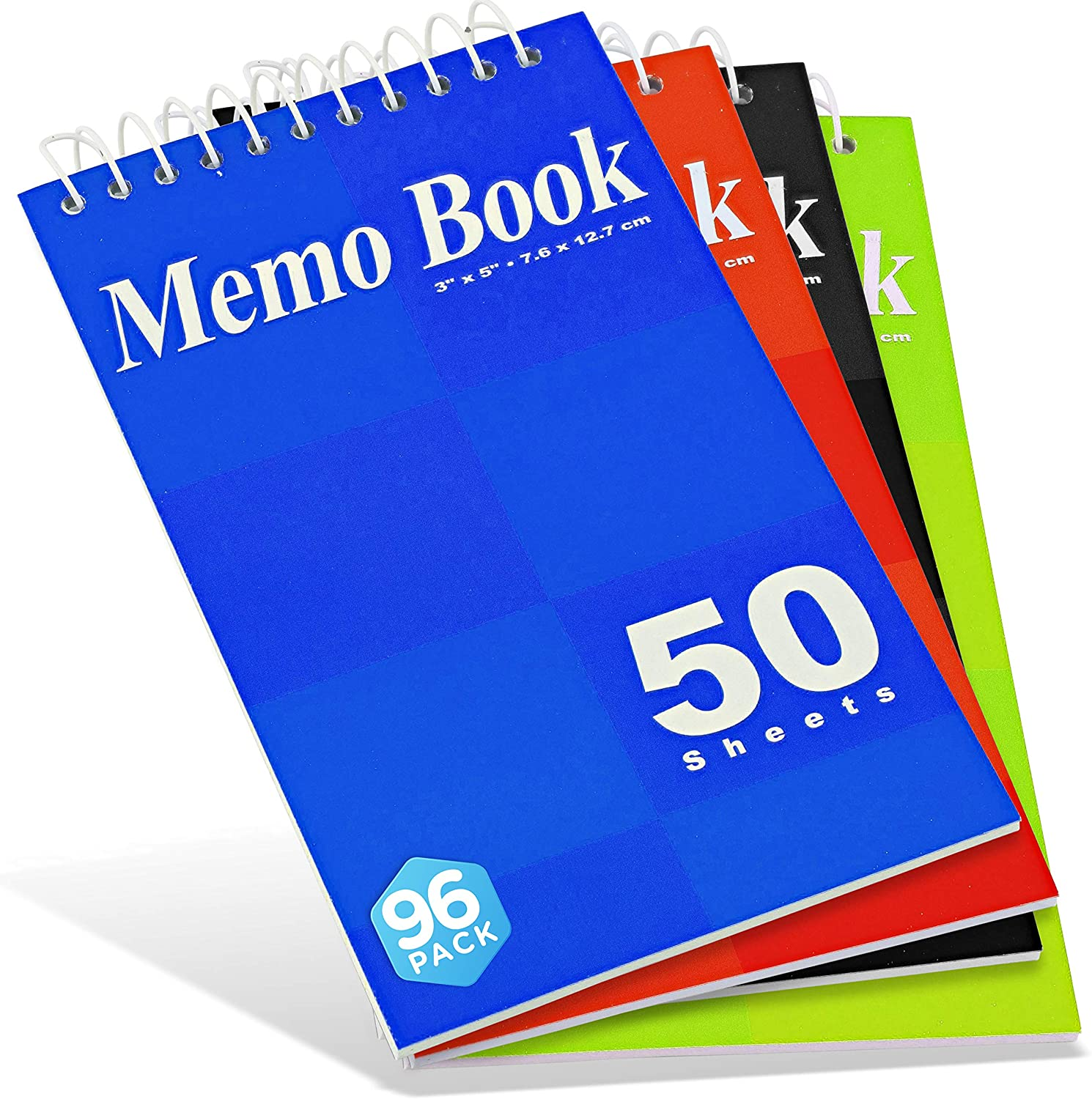 Emraw Top Bound Spiral Memo Pad, Assorted Color, Covers 5 x 3 Inches Spiral Notebook, Wire Binding Scratch Pads, for Outdoor Activities (Pack of 96)