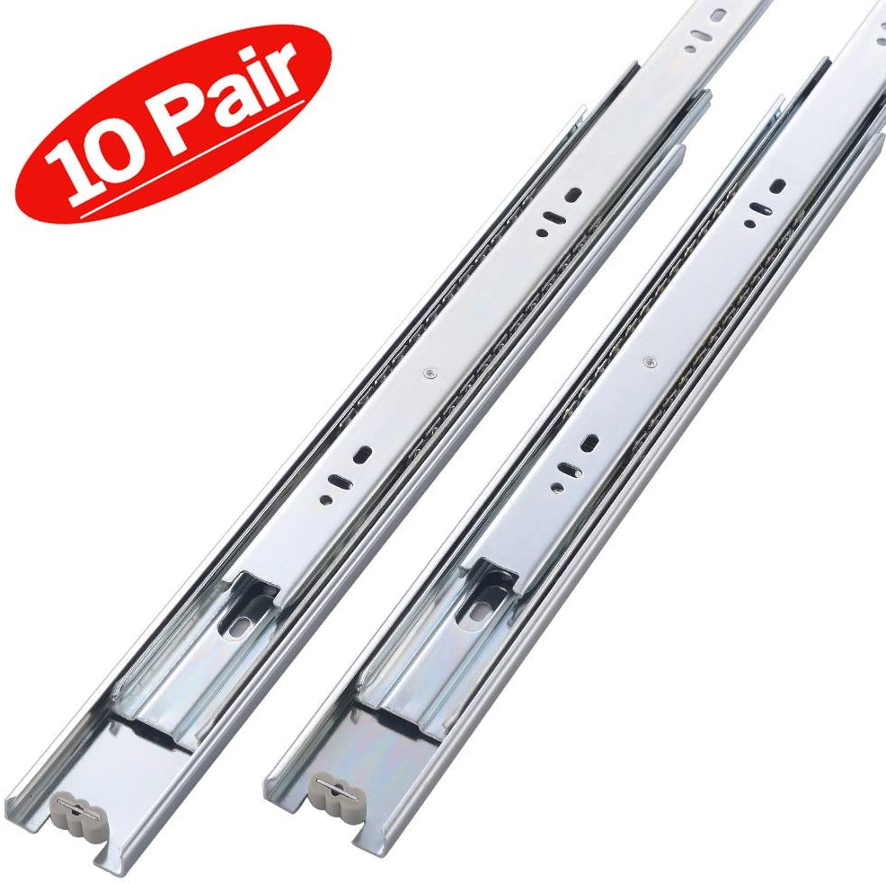 Friho 10 Pair of 14 Inch Hardware Ball Bearing Side Mount Drawer Slides, Full Extension, Available in 12'',14'',16'',18'',20'' Lengths