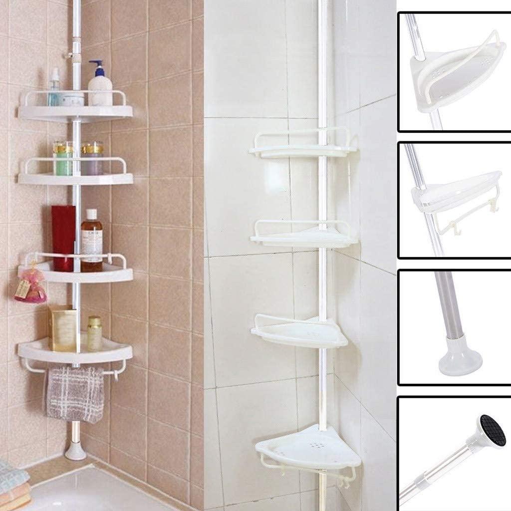 Bathroom Bathtub Shower Caddy Holder - Corner Rack Shelf Organizer Accessory - Bathroom Shelf - Adjustable Shower Shelf - FAST SHIPMENT (White)