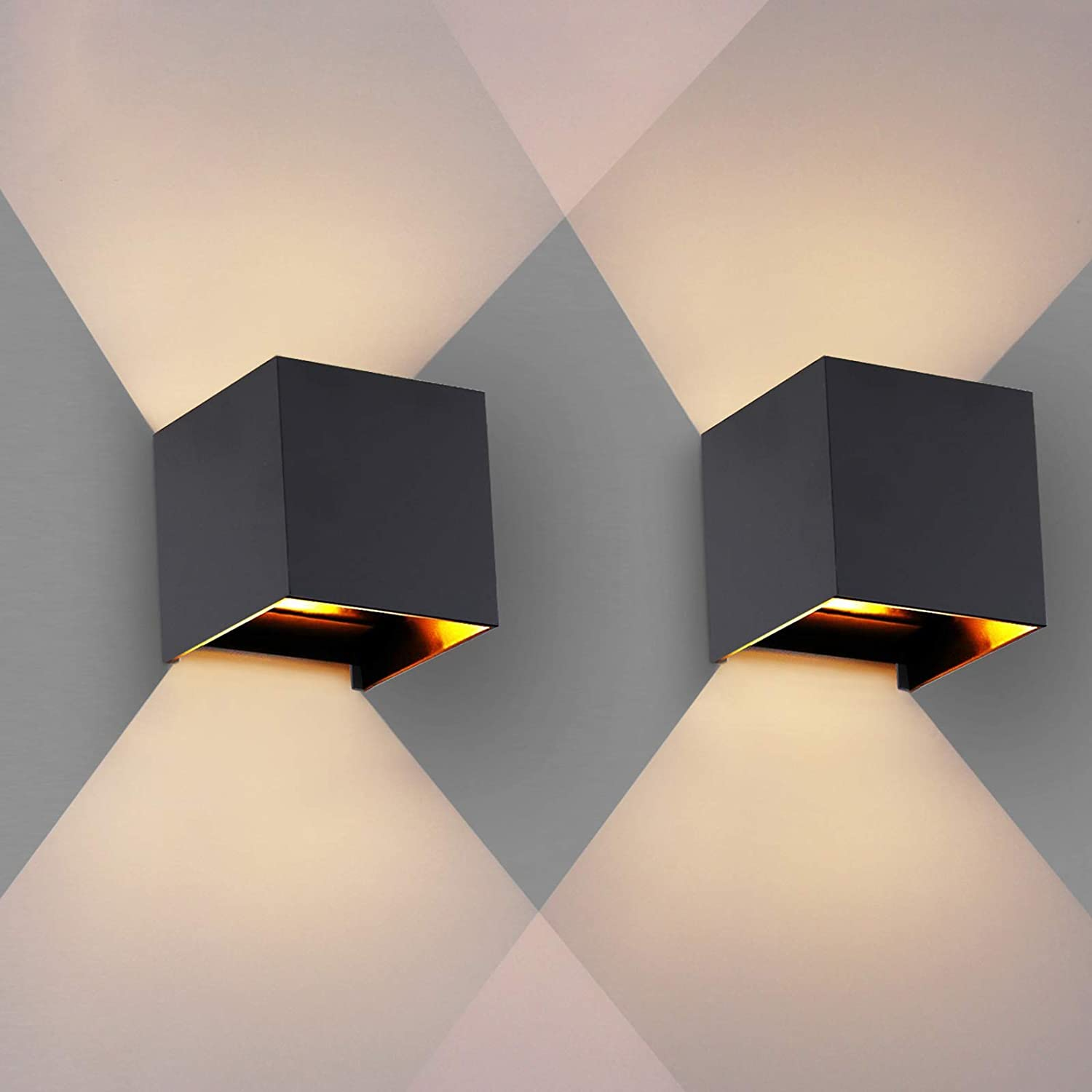 OOWOLF Modern Set of 2 LED Wall Sconces, Waterproof IP65 Outdoor, 3000K Cool White Aluminum Wall Sconce Lighting, G9 Replaceable Bulb Up and Down Indoor for Living Room Bedroom Hallway Black