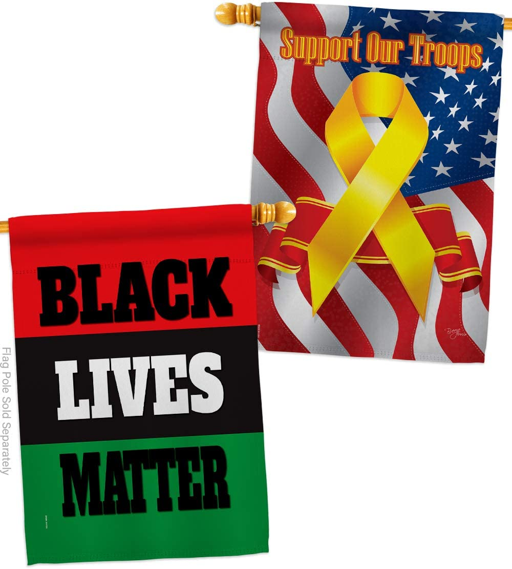 Black Lives Awareness House Flag - Pack Support Cause BLM Anti Racism Revolution Movement Equality Social Our Troops - Decoration Banner Small Garden Yard Gift Double-Sided Made in USA 28 X 40