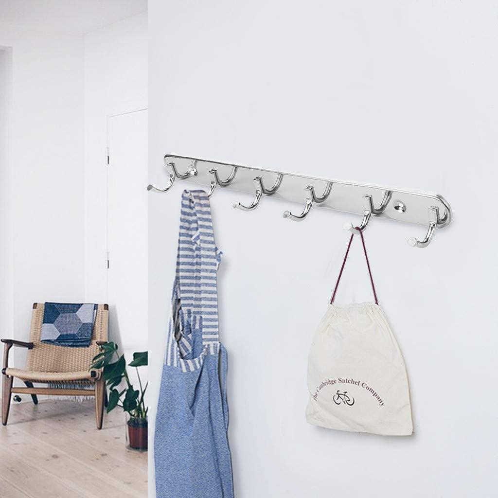 Bathroom Storage Wall Mount Hook Rack Stainless Steel Coat Rack Coat Hooks with 6 Hanger Hooks