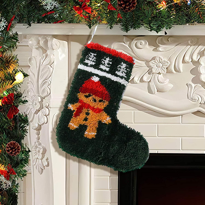 DIY Latch Hook Christmas Sock, Cross Stitch Cushion Cover Crochet Rug for Kids Adults DIY Making Kits Crochet Needlepoint Rugs Beginners Needlework Art Craft Handcraft (Elk, 19.69 x 16.54in)