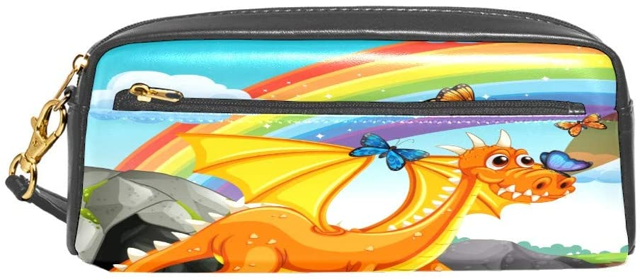 Dragon Standing Rainbow Butterfly Pencil Case Zipper Portable Leather Stationery Pouch Bag Office Storage Organizer Coin Pouch Cosmetic Bag for Women Men Girls Boys Kids Teens Students