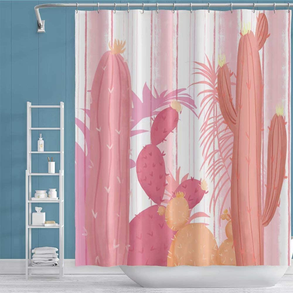 Qinunipoto 60x72inch Cactus Shower Curtain Tropical Exotic Cactus Flower Blossom Vertical Stripes Background Watercolor Painting for Master Bar Modern Home Bathroom Decor Bathtubs Polyester Pink