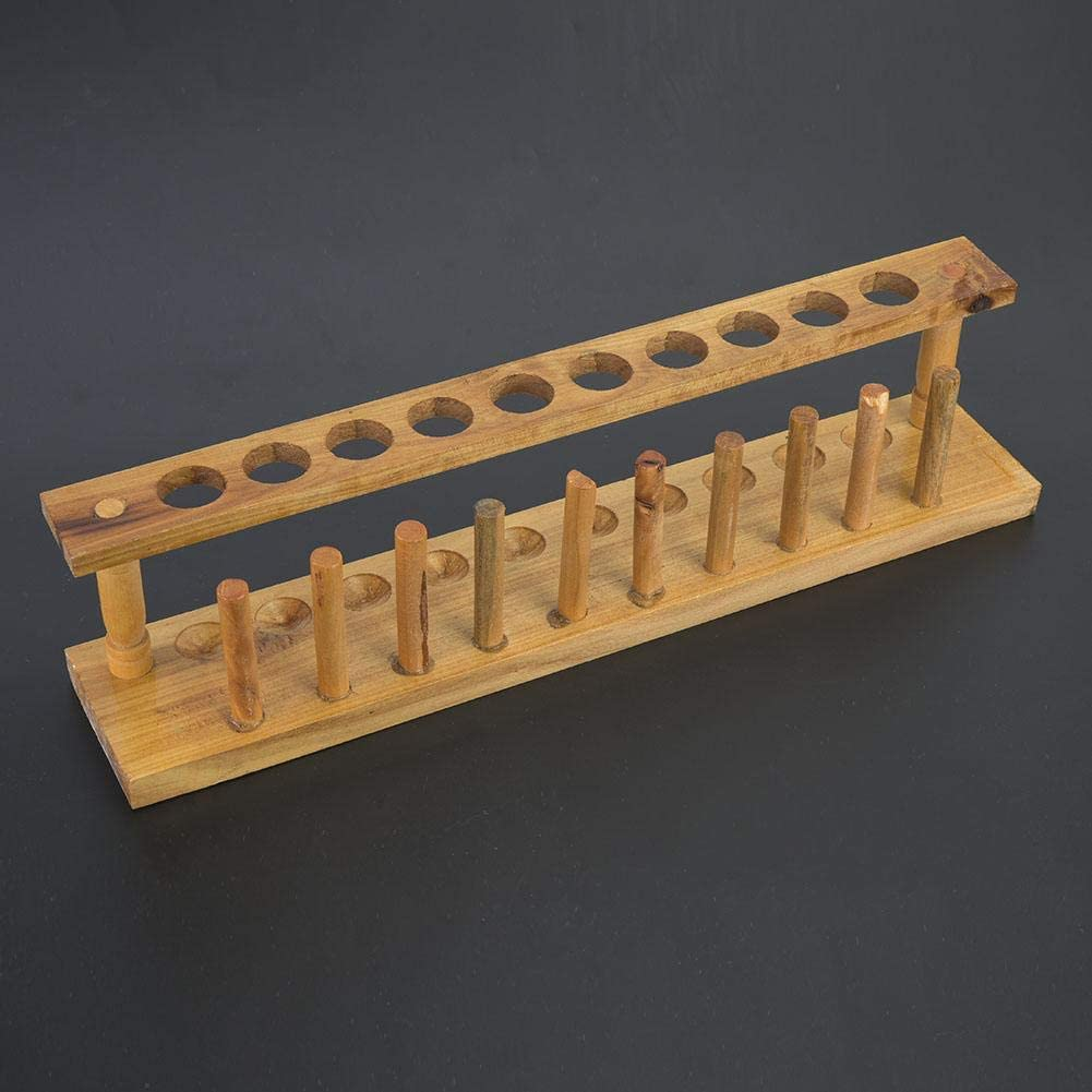 Qioni Test Tube Stand, Wooden Test Tube Rack, Sturdy Long(Wooden Test Tube Rack with 10 Holes)
