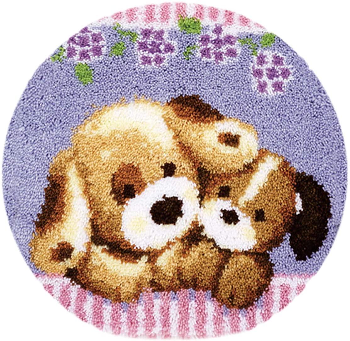 Latch Hook Kits Carpet Embroidery Cross Stitch 50cm50cm Cushion Carpet Plush Floor Mat Embroidery Kit DIY Carpet (DOG-ZD120)