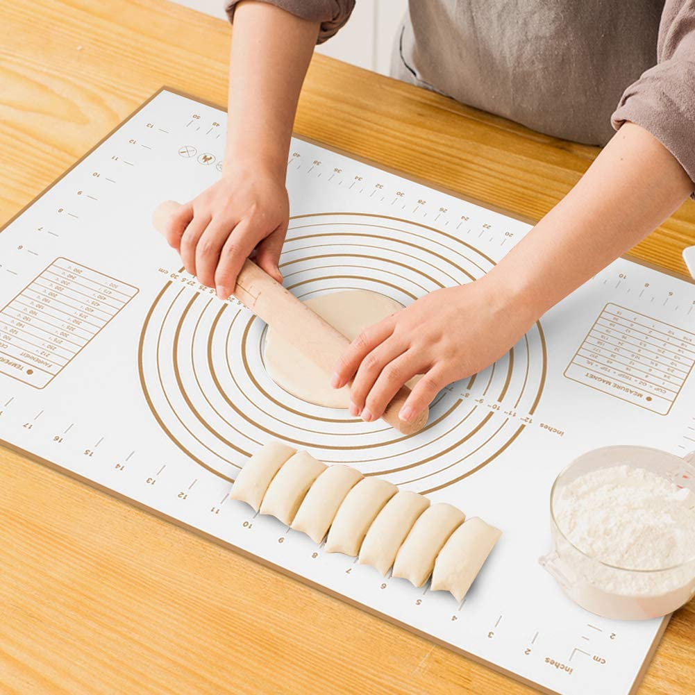 Large Silicone Pastry Mat Extra Thick Non Stick Baking Mat with Measurement Fondant Mat, Counter Mat, Dough Rolling Mat, Oven Liner, Pie Crust Mat (XXL-24''(W)32''(L), Gold)