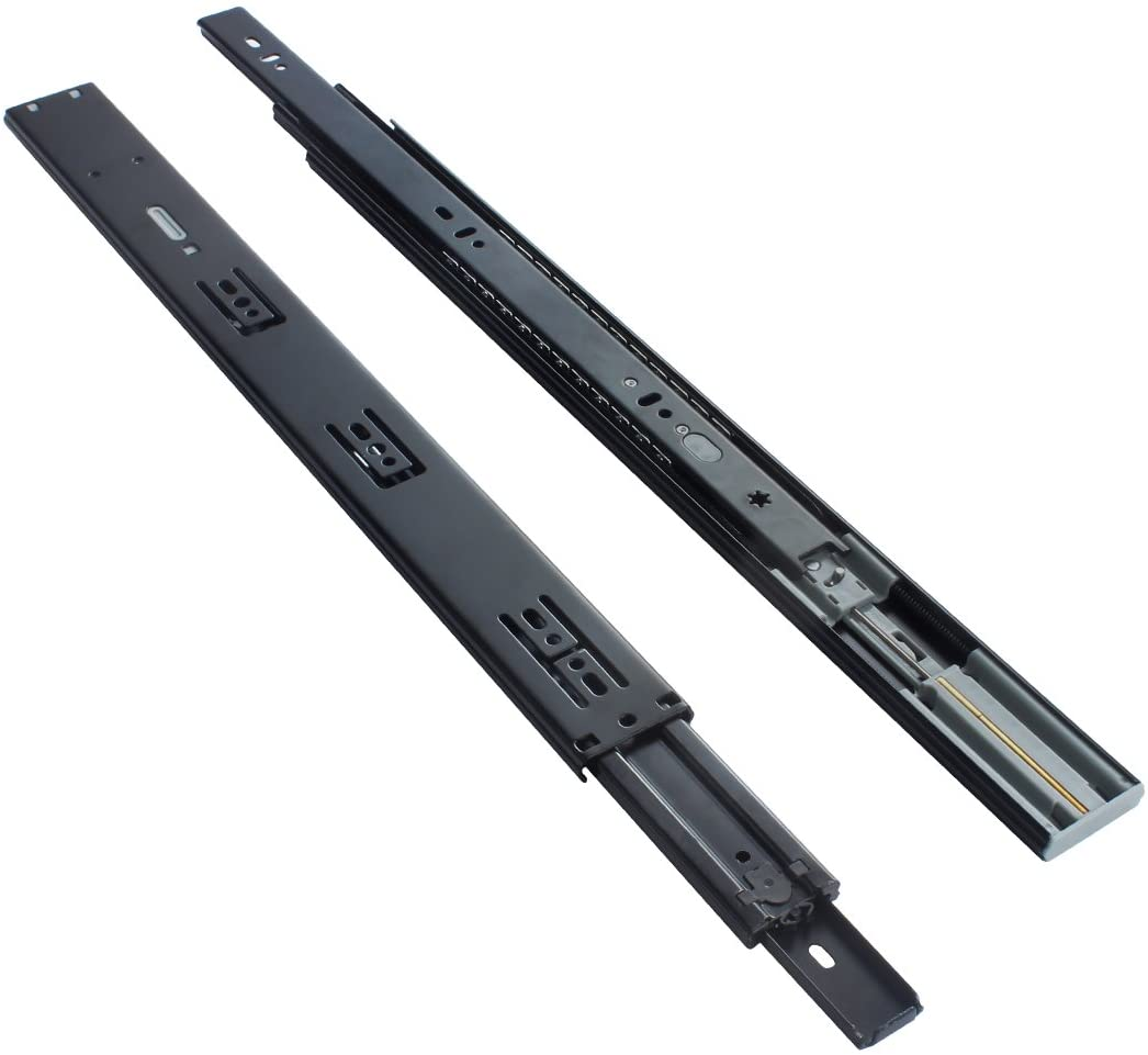 VADANIA 20-Inch Ball Bearing Drawer Slides Soft Close, K1245, 3 Folds Full Extension, Side-Mount, Black, Heavy Duty 100lb Load Capacity, 1-Pair (2 Pieces)