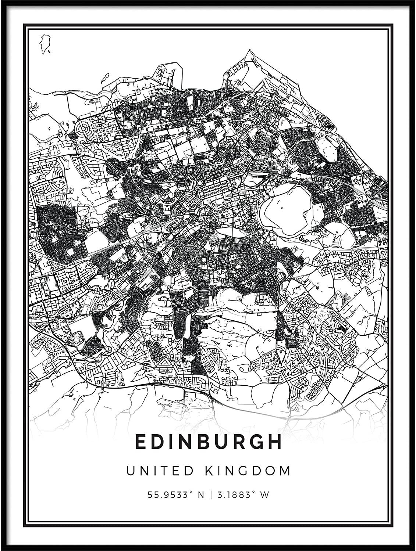 Squareious Edinburgh map Poster Print   Modern Black and White Wall Art   Scandinavian Home Decor   United Kingdom City Prints Artwork   Fine Art Posters 8.5x11