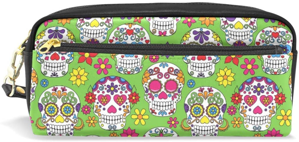 Pencil Case Big Capacity Pencil Bag Makeup Pen Pouch Sugar Skull Durable Students Stationery Pen Holder for School/Office