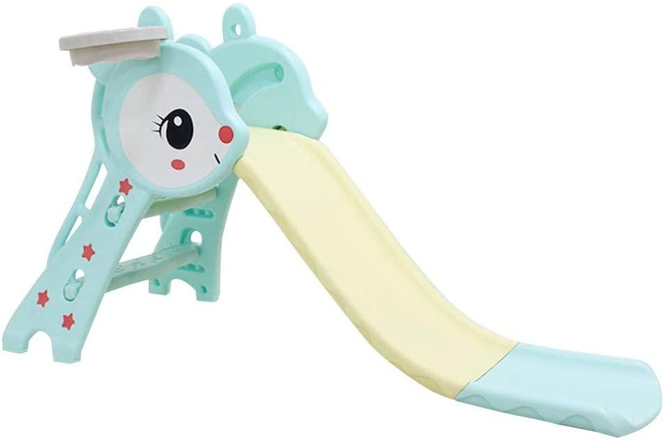 11111111 Children's Slide Indoor/Backyard Playground - Home Multi-Function Slide with Basketball Hook - Combination Folding Toddler Slide Toys (Blue)