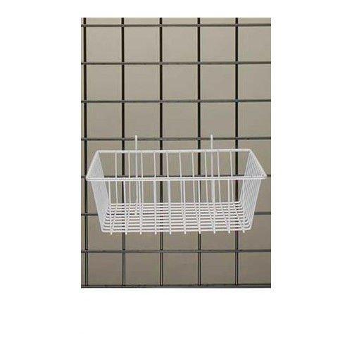 Mini Wire Grid Basket in White Powder Coat 12 L x 12 W x 4 D Inches - Box of 3