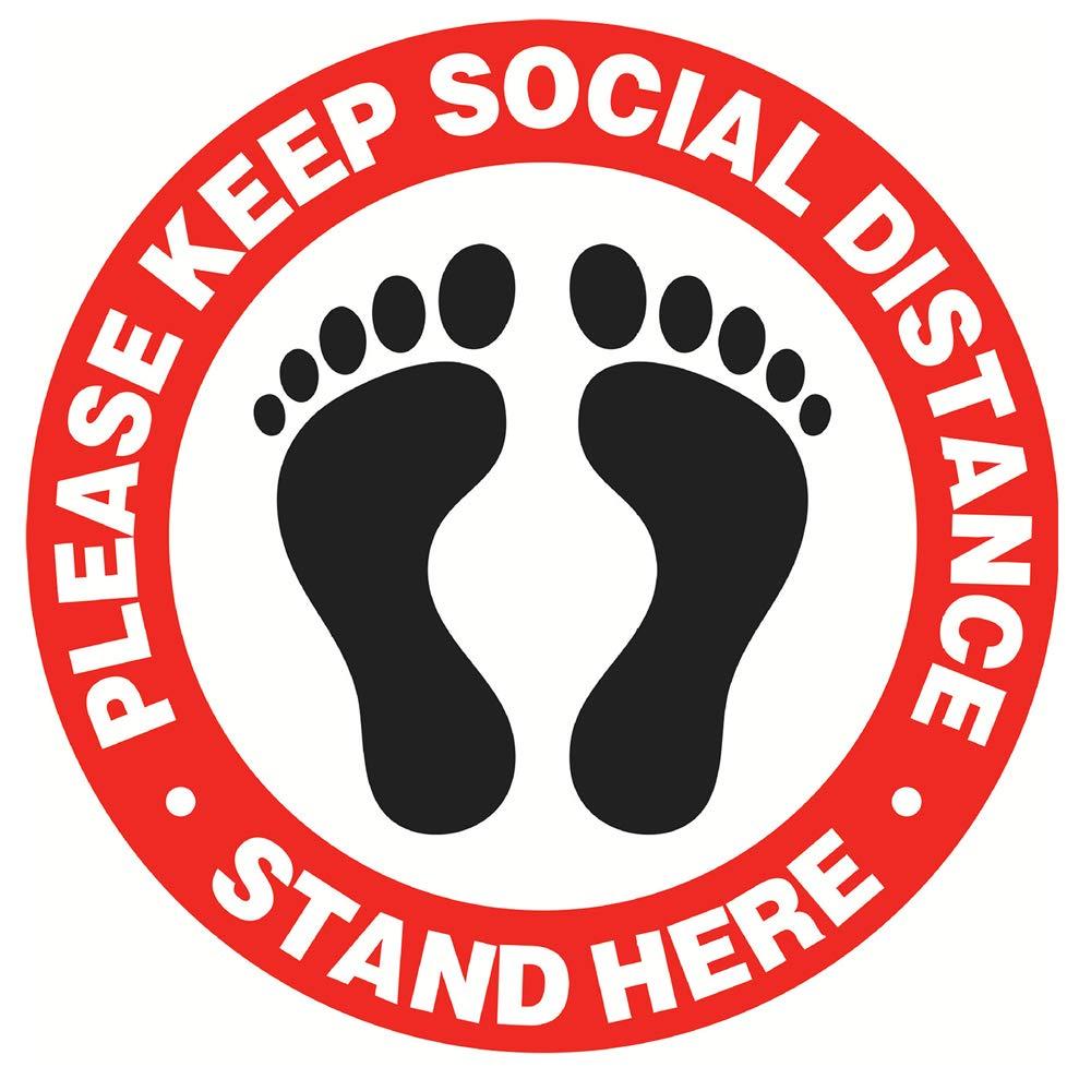 Social Distancing Floor Decals - Stand here 6 feet Apart Floor Stickers 12