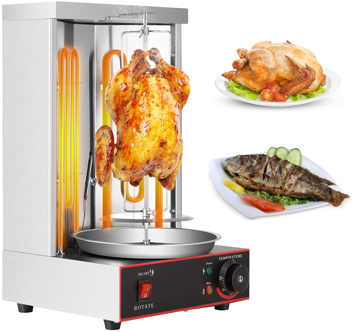 Gyro Grill Machine Electric Shawarma Grill SEAAN Doner Kebab Vertical Rotisserie Broiler Temperature Adjustable 122°F-572°F 3000W