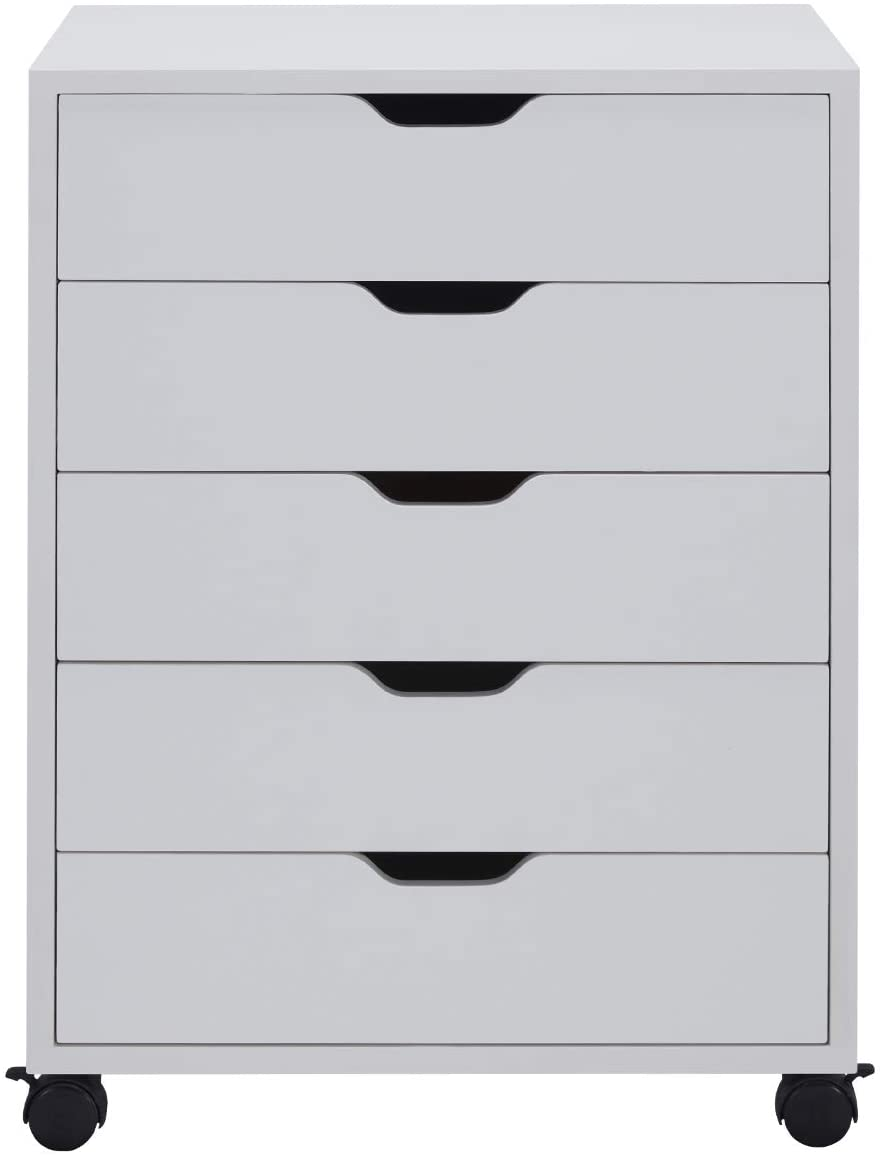 Vicllax 5-Drawer Vertical Mobile Filing Cabinet Storage for Home Office White