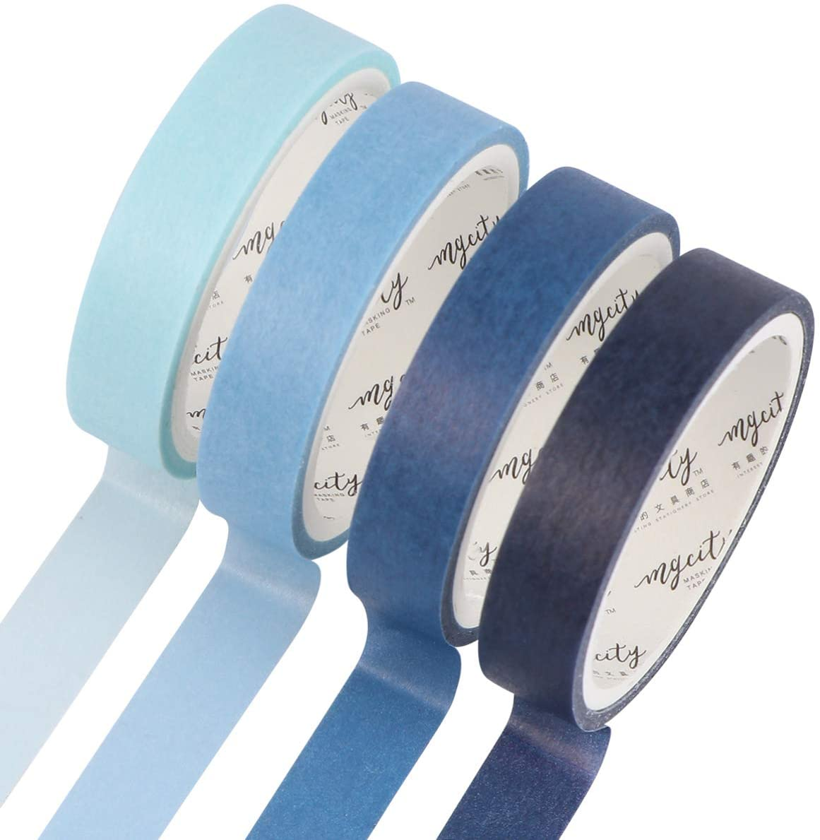 ARTIBETTER 8pcs Colored Masking Tape Washi Painters Decorative Tape Decals DIY Arts Crafts Labeling Packing Coding Supplies for Kids Blue
