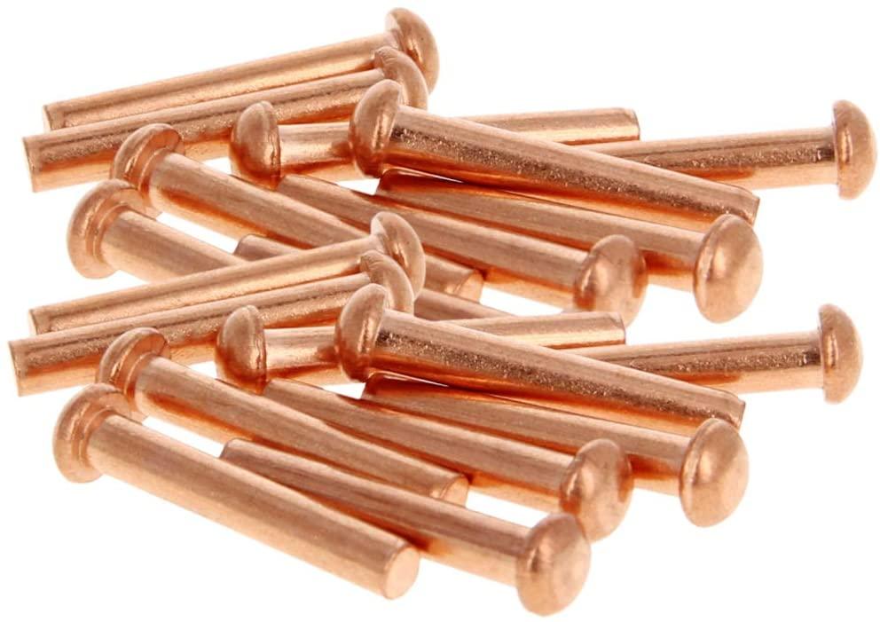 MroMax 50pcs 9mm x5mm x 30mm Head Diameter x Shank Diameter x Length Copper Round Head Solid Rivets Fasteners
