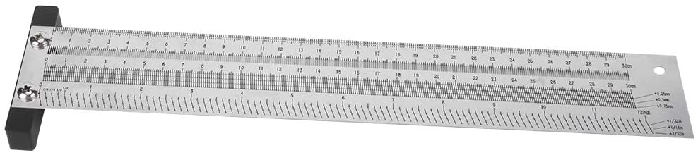 Ultra Precision Durable Anti‑rust 16 Inches Carpenter Gauging Tool, Carpenter Measuring Tool Marking Ruler, for Measuring Winding Pipes Auto Metal Sheet(12 inches)
