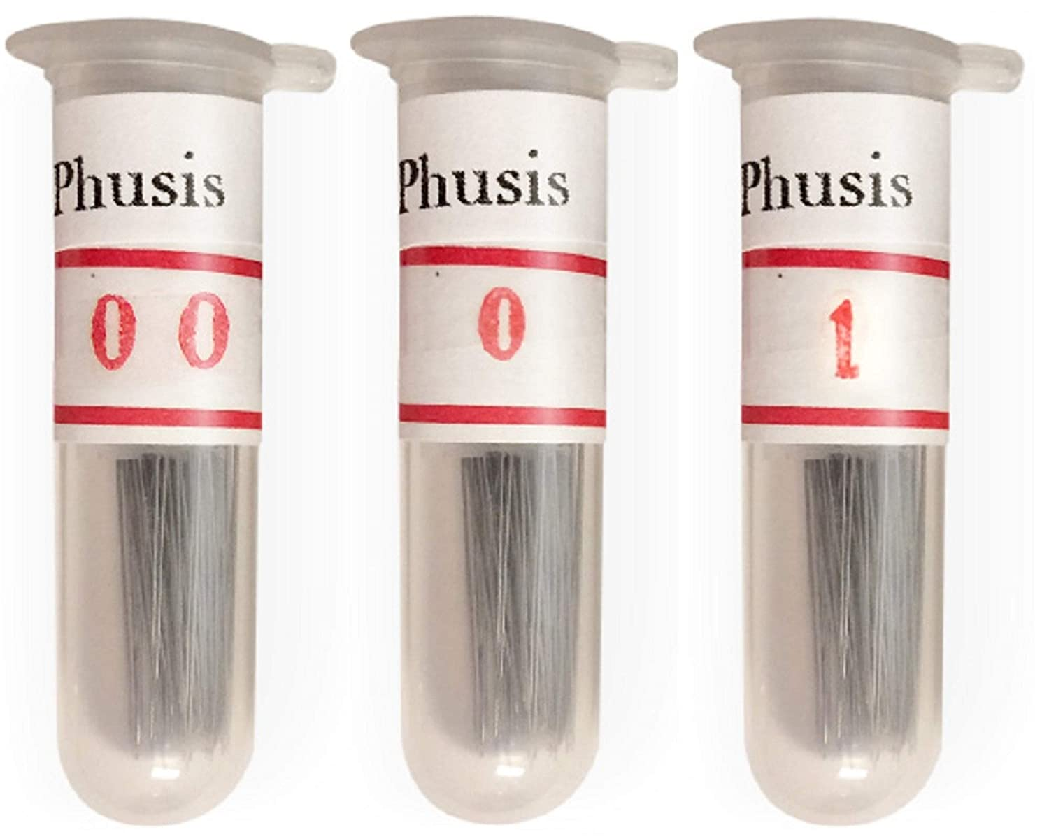 Phusis Stainless Steel Insect Pins | Sizes #00, 0 and #1 | 100 of Each Size | Includes Sturdy Storage Containers | for Entomology, Dissection, Butterfly Collections