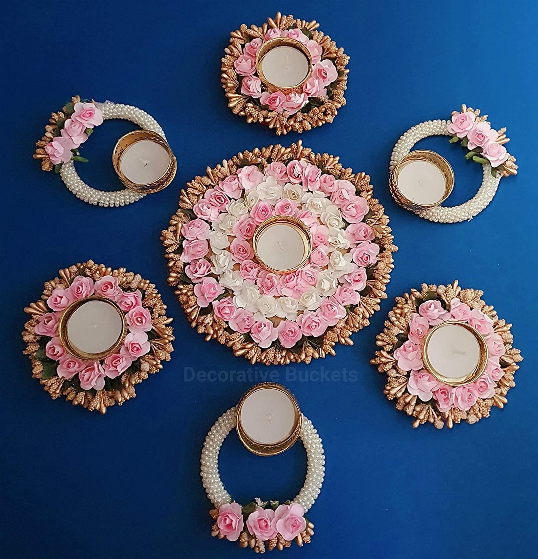 DECORATIVE BUCKETS Handmade Tea Light Holders|Set of 7 Rangoli Candle Holders|Diwali Decorations|onam pongal Rangoli Floor Decorations|Diwali diyas|Diwali Lights|Diwali Candles