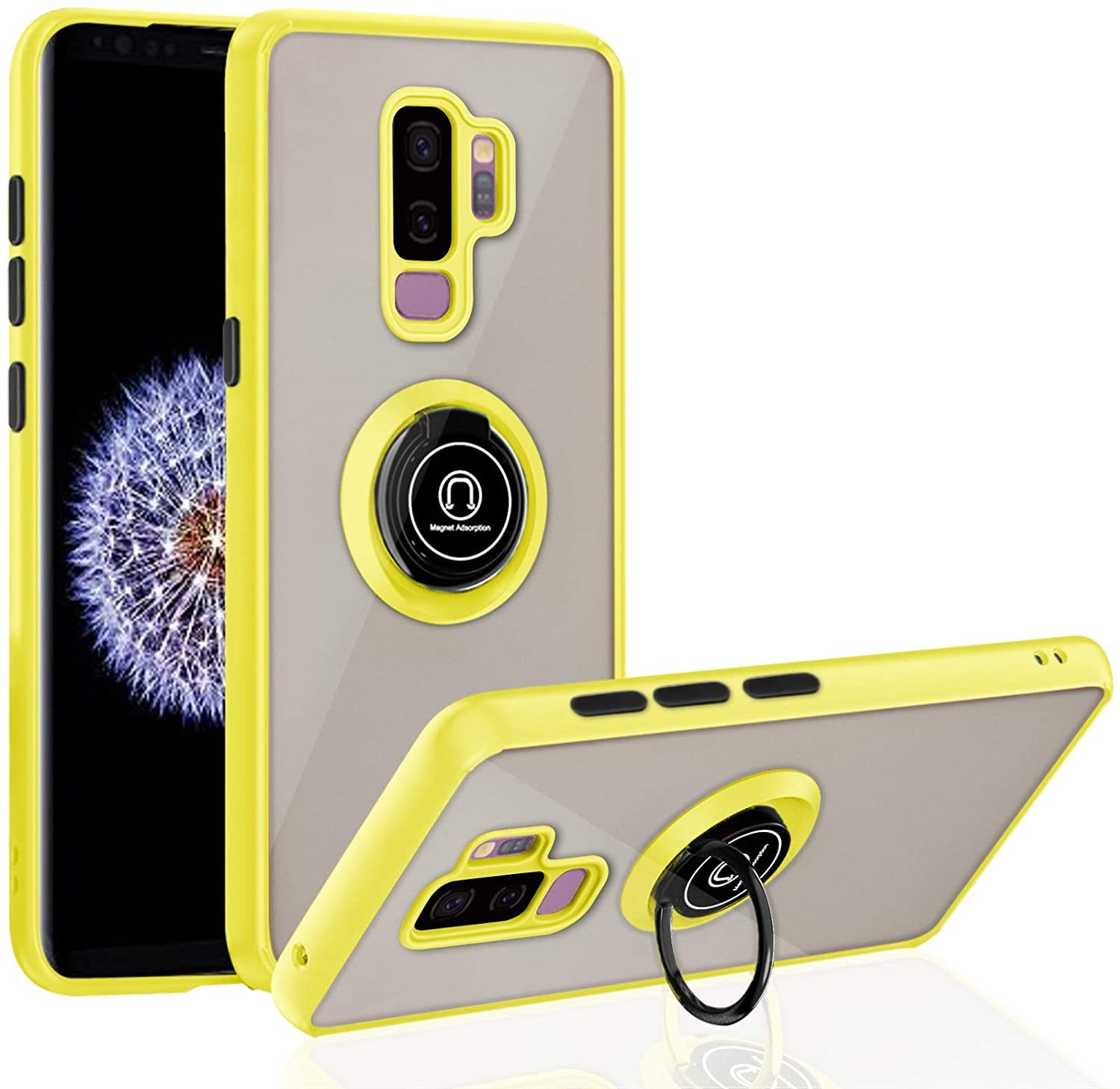 Samsung Galaxy S9 Plus Case with Ring 6.2 inch, Anti-Scratch Case with 360 Degree Rotation Finger Ring Kickstand Work with Magnetic Car Mount Compatible for Samsung Galaxy S9 Plus - Yellow