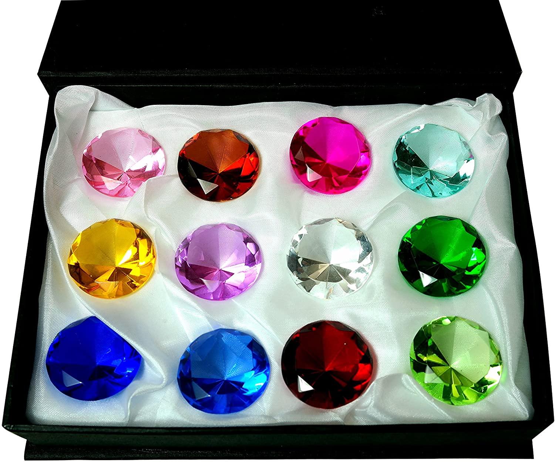 Tripact 30mm Diamond Jewel Crystal Paperweight Round Cut Box Set (12pcs)