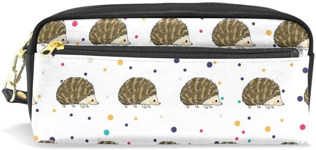 Pencil Bag Pen Case Adorable Hedgehog- Stationery Pouch Makeup Holder Cosmetic Box for School Office, ChunBB PU Leather