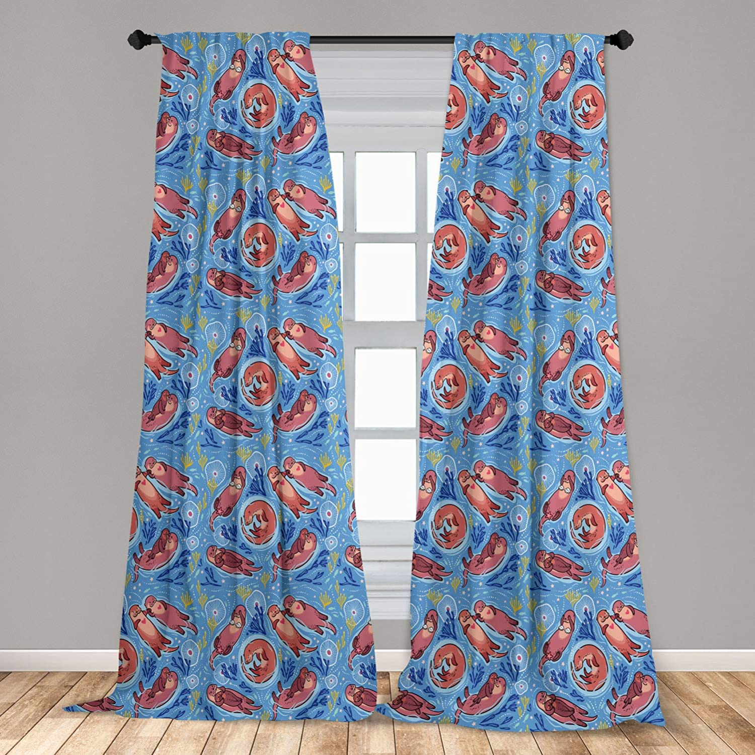Ambesonne Nursery 2 Panel Curtain Set, Cartoon Style Otters with Ornamental Seaweed and Corals in Blue Water, Lightweight Window Treatment Living Room Bedroom Decor, 56 x 63, Ocean Blue
