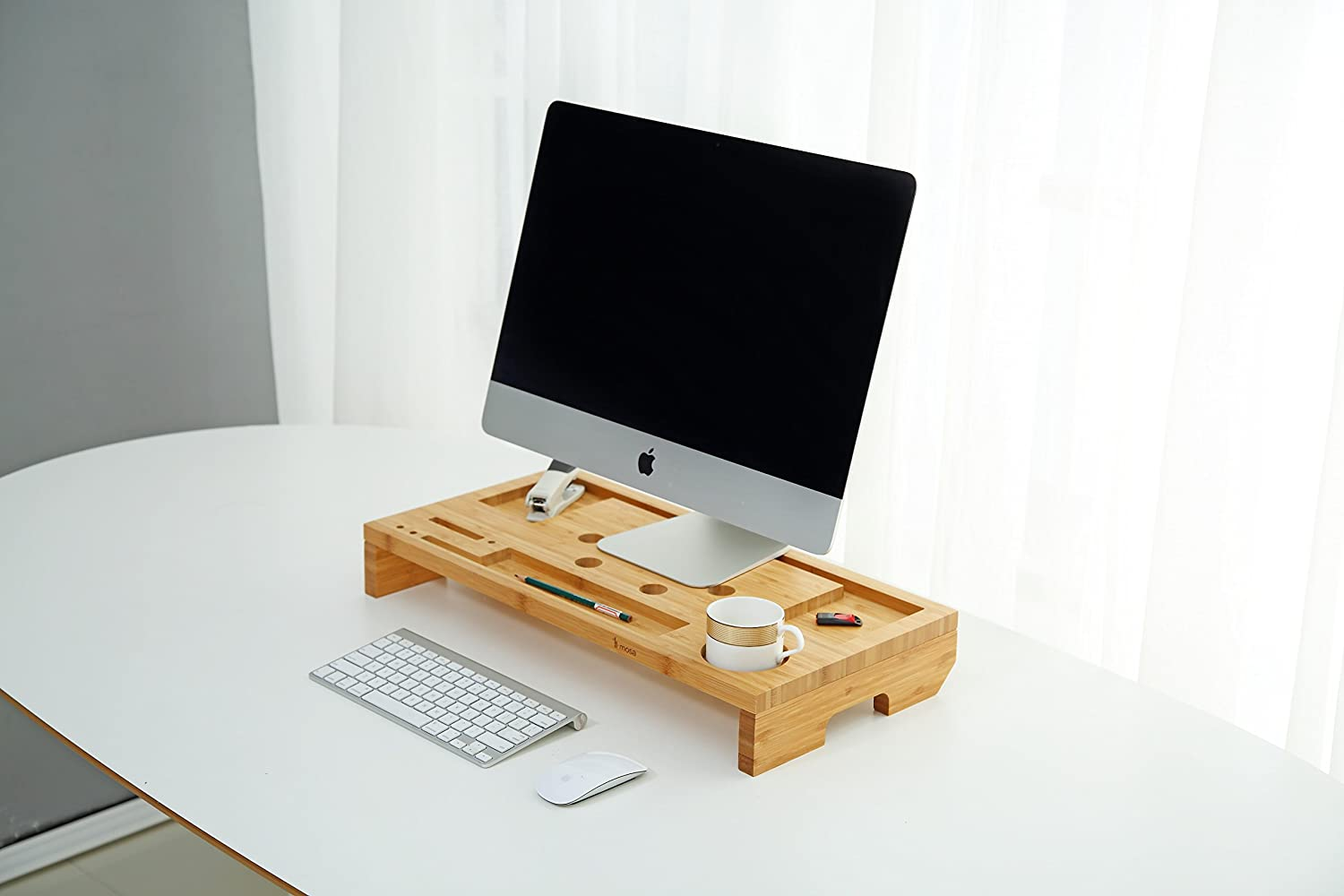 Natural Bamboo Laptop Stand, Mosa Wood Monitor Riser Vantilated Stand