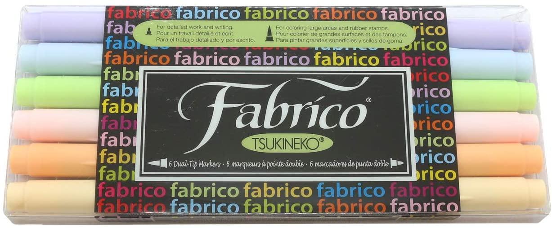 Tsukineko Dual-Ended Fabrico Marker Color-Fast, Sorbet, 6-Piece Set