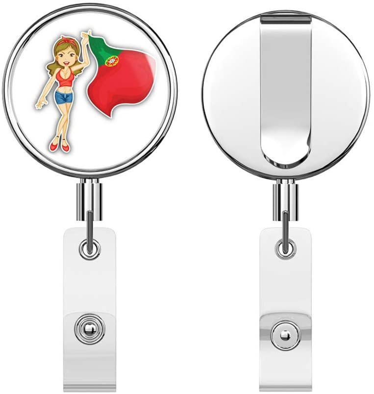 Portugal Patriotic Woman Flag Round ID Badge Key Card Tag Holder Badge Retractable Reel Badge Holder with Belt Clip