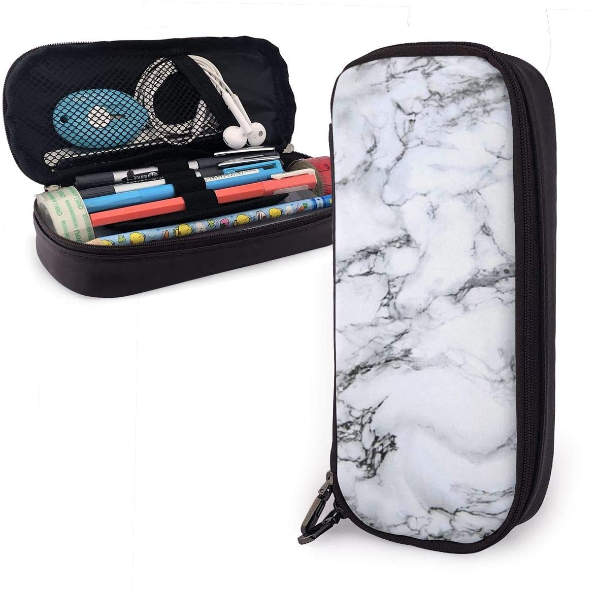 NiYoung Unisex Big Capacity Pencil Case Holder Pen Organizer Pouch Stationery Box Large Storage College Middle School & Office Supplies Stationery - White Marble