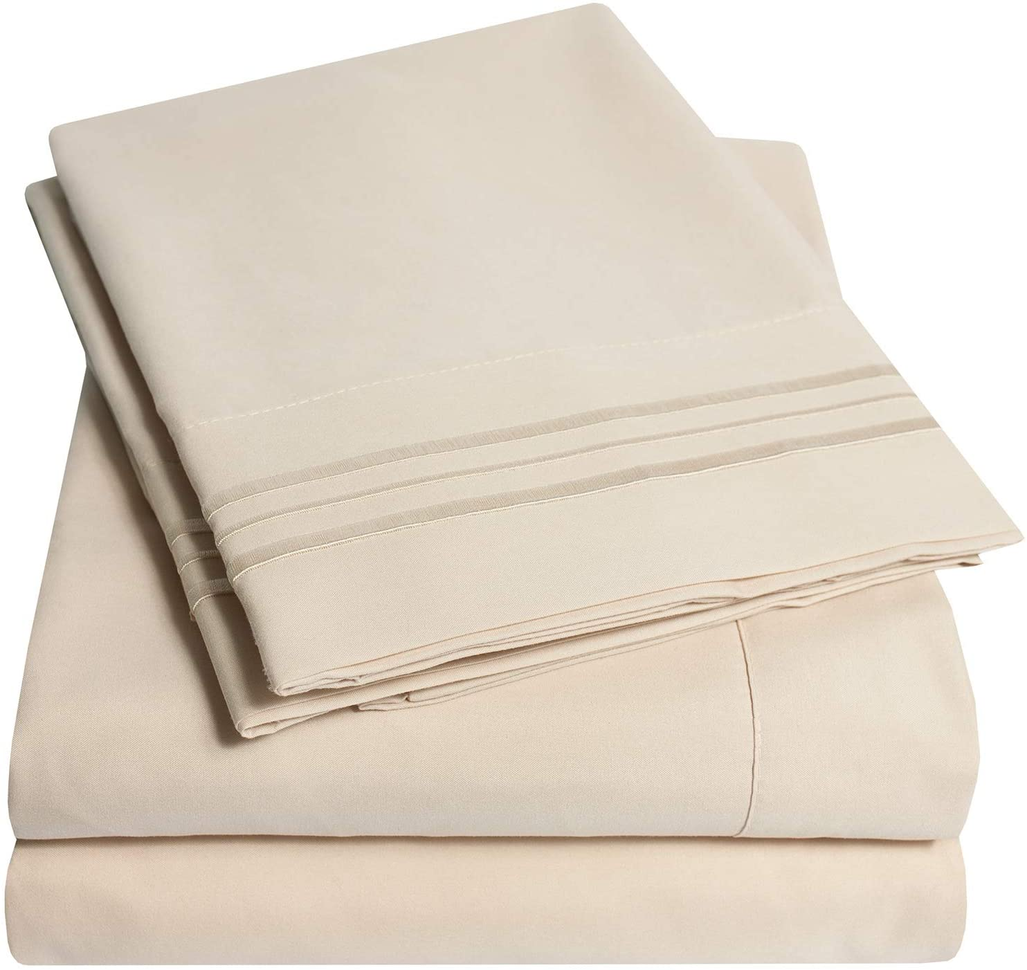1500 Supreme Collection Bed Sheet Set - Extra Soft, Elastic Corner Straps, Deep Pockets, Wrinkle & Fade Resistant Hypoallergenic Sheets Set, Luxury Hotel Bedding, King, Beige