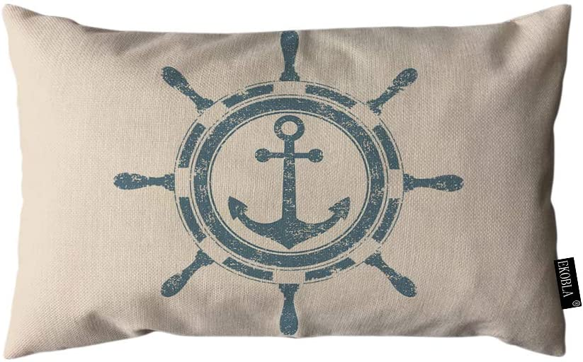 EKOBLA Throw Pillow Cover Nautical Theme Vintage Navigation Pattern Anchor Ocean Theme Marine Rectangular Throw Pillow Covers for Couch Sofa Home Decor Cotton Linen 12x20 Inch