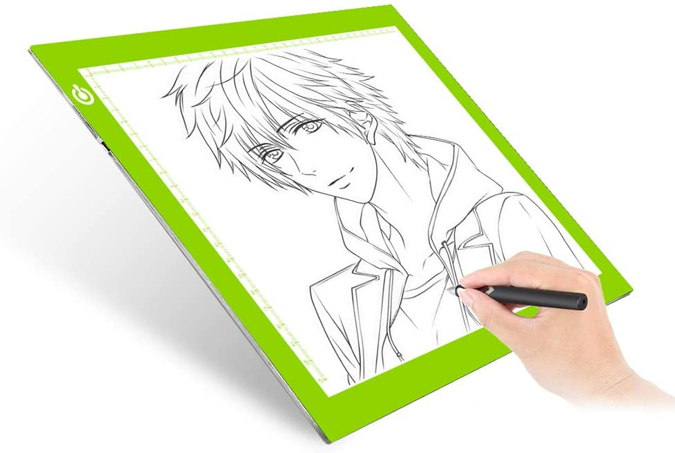 Dimmable A4 LED Tracer Light Box Slim Light Pad, ME456 USB Power Drawing Copy Board Tattoo Tracing LED Light Table for Artists Designing, Animation, Sketching, Stenciling (Green)