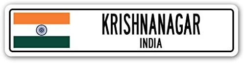KRISHNANAGAR, India Street Sign Indian Flag City Country Road Wall Gift