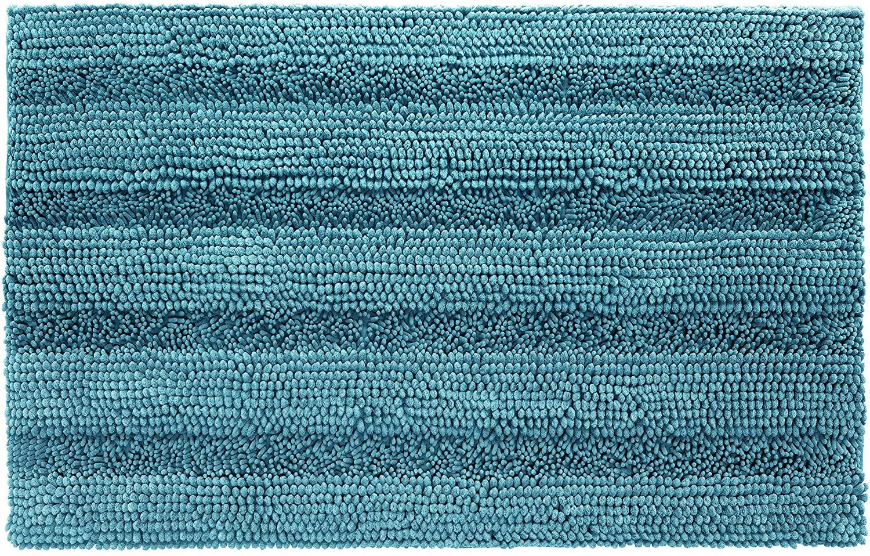 Shaggy Chenille Bath Mat, Soft and Absorbent Non Slip Bathroom Rug, Plush Carpet Mats for Bathtub and Shower, Machine Washable, 20 x 32 Inch, Teal Blue