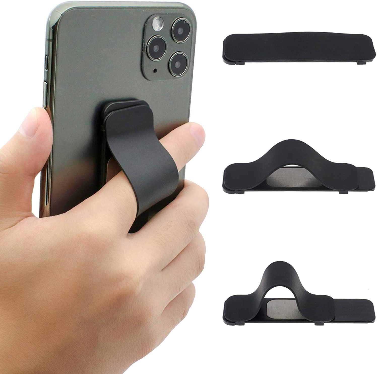 Finger Strap Phone Holder, AOLIY Cell Phone Grip Stand for iPhone Android Smartphone Mini Tablet Car Vent Holder (Black)