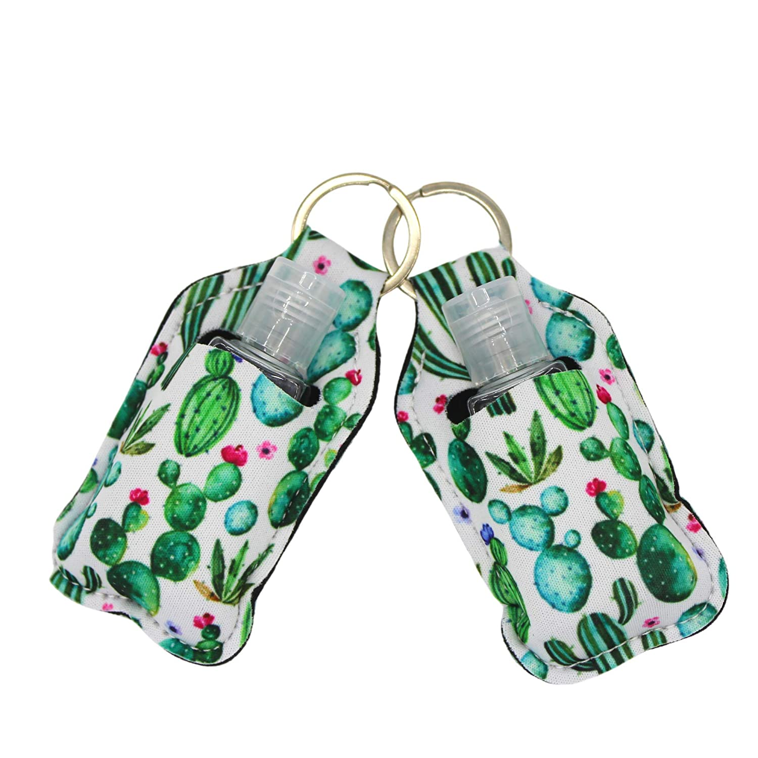 Loxie 2 Piece Keychain Hand Sanitizer Holder with 1 oz Travel Size Refill Plastic Bottle (Cactus)